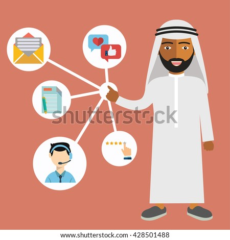 Arab businessman presenting Customer Relationship Management. System for managing interactions with current and future customers - vector illustration. - stock vector