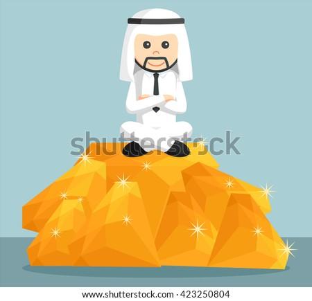 arab businessman sit on the top of the pile of orange diamonds - stock vector