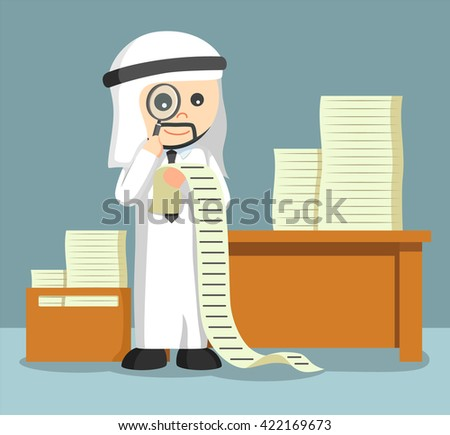 arab businessman using magnify glass for looking his tasks