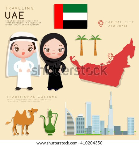 Arab Emirates : Infographic with Traditional Costume and Tourist Attractions : Vector Illustration EPS10 - stock vector