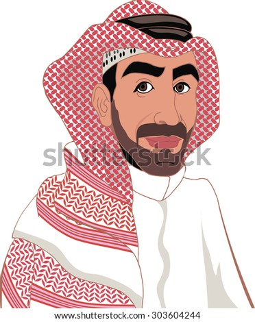 arab in a keffiyeh - stock vector