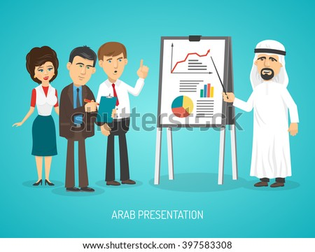 Arab in traditional arabic clothing doing presentation with flip chart to european people cartoon poster vector illustration - stock vector