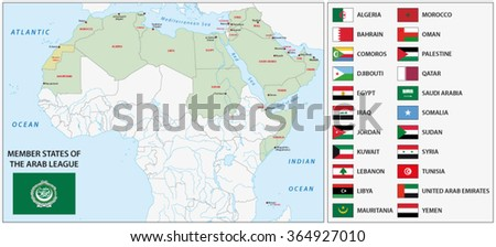 arab league map - stock vector