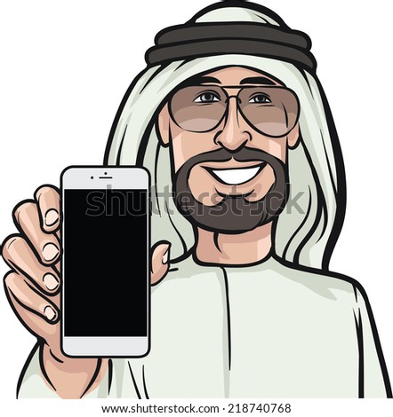 arab man showing a mobile app on a smart phone - stock vector