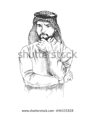 Arab man thinking hand drawn sketch. Vector illustration.
