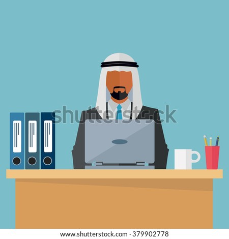 Arab, middle eastern businessman at his workplace vector illustration - stock vector