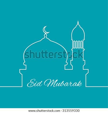 Arab mosque. outline. minimal. Eid Mubarak. - stock vector
