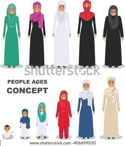 Arab people generations at different ages isolated on white background. Arab woman aging: baby, child, teenager, young, adult, old people. All age group of arab woman family. Generations woman. - stock vector