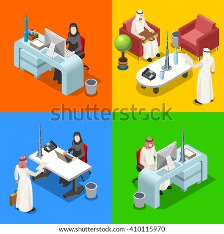 Arab People Muslim Businessman 3D Flat Isometric People Collection. Middle Eastern Arab Business Man Drawing. Finance Character Picture. Arabian Infographic Elements Isolated Vector Illustration. - stock vector