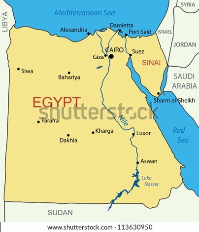 Egypt Map Stock Images RoyaltyFree Images Vectors Shutterstock - Map of egypt on world map