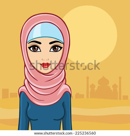 Arab woman against the palace in the desert. - stock vector