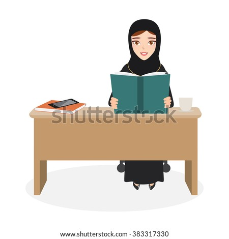 arab woman reading a book at office desk. arab people character.
