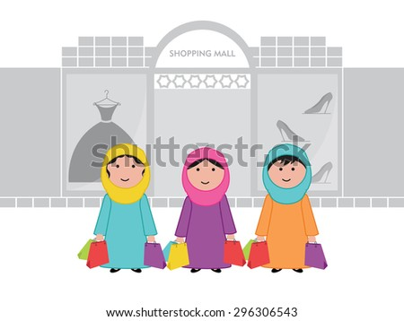Arab women shopping at the mall