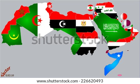 Arab world map flags stock vector 226620493 shutterstock arab world map and flags gumiabroncs Images