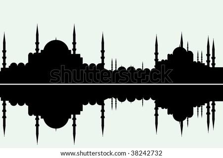 arabesque cityscape - stock vector