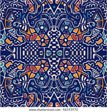 Arabesque mosaic pattern. Symmetric abstract background. - stock vector