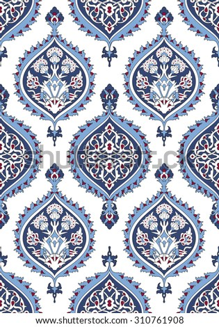 Arabesque seamless pattern in editable vector file - stock vector