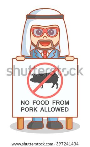 Arabian business man no food pork - stock vector