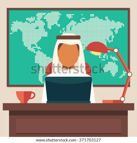 Arabian Businessman Working in The Office, Vector Illustration