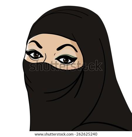 Arabian lady in veil - stock vector