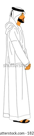 Arabian man in sandals standing, vector isolated on white background. Arab illustration. - stock vector