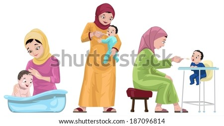 Arabian Mothers With Their Kids-vector - stock vector