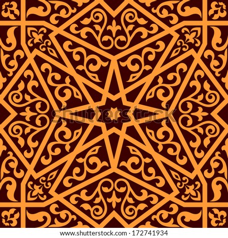 Arabian seamless pattern with a central star and floral elements in a square format suitable as a tile in shades of brown, vector illustration - stock vector