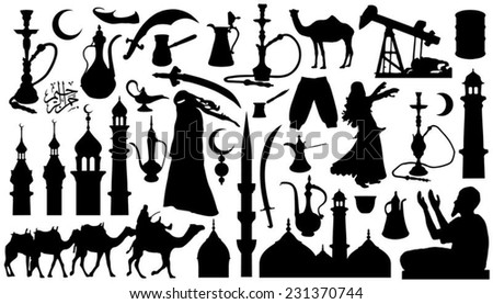 arabian silhouettes on the white background - stock vector