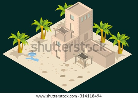 Arabian style artistic building. - stock vector