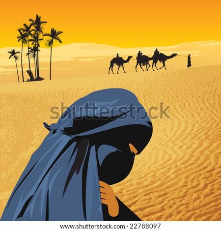 Arabian woman in sahara - stock vector