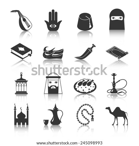 Arabic and islamic religion culture icon black set isolated vector illustration
