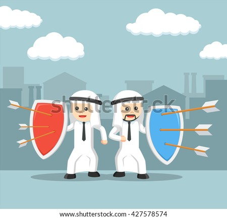 Arabic business man defender strategy - stock vector