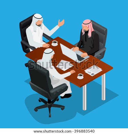 Arabic business meeting concept. Arabic businessman presenting his ideas to colleagues for success investments at bright modern office room. 3d flat isometric vector illustration - stock vector