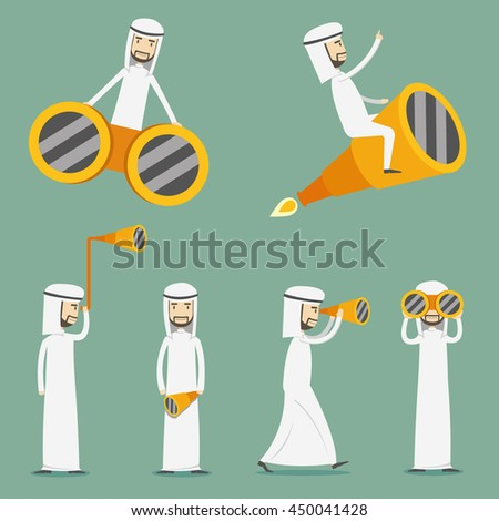 Arabic businessman looking opportunities by telescope. - stock vector
