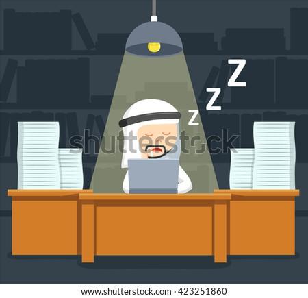 Arabic businessman sleep while late working - stock vector
