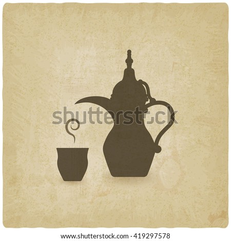 Arabic coffee pot old background. vector illustration - eps 10 - stock vector