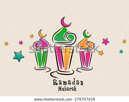 Arabic colorful traditional lanterns with stars on beige background for Islamic holy month of prayers, Ramadan Mubarak celebrations. - stock vector