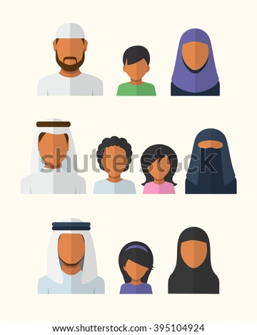 Arabic Families avatars in flat style - stock vector