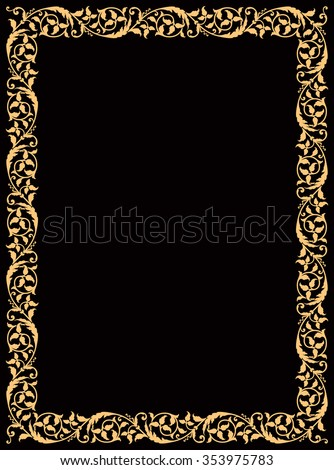 Arabic Floral Frame. Traditional Islamic Design. Mosque decoration element. Elegance Background with Text input area in a center. Ocher on black background