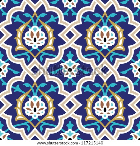 Arabic Floral Seamless Pattern. Traditional Arabic Islamic Background. Mosque decoration element. - stock vector