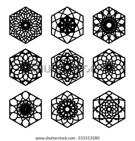 Arabic hexagon ornament set. Vector symbols collection - stock vector