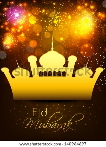 Arabic Islamic calligraphy of text Eid Mubarak with shiny golden mosque on firecrackers background