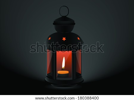 Arabic lamps or lanterns on black background. - stock vector