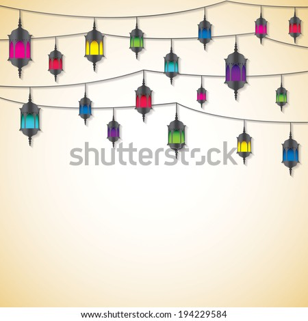 Arabic lantern card in vector format. - stock vector