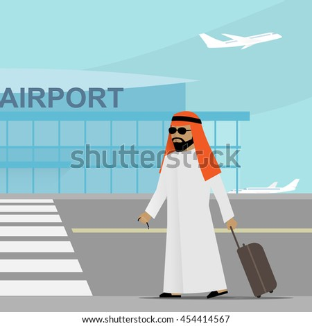 Arabic man in traditional clothes with suitcase walking to the airport. Vector