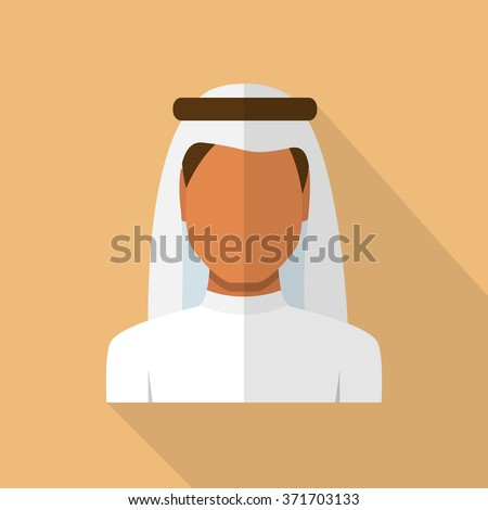 Arabic man in traditional muslim hat, vector avatar