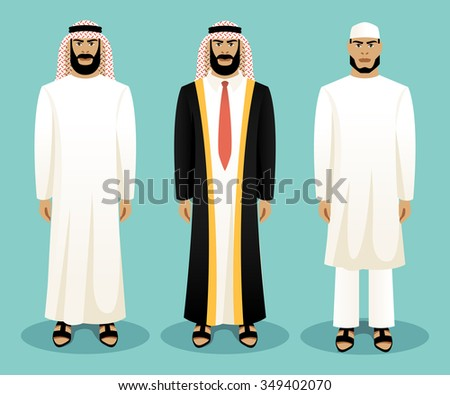 Arabic man wearing traditional clothing. Culture clothes, clothing person, ethnic people, vector illustration - stock vector