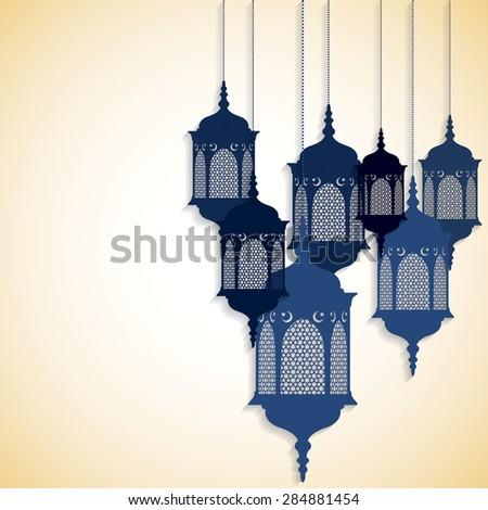 Arabic/ Moroccan lantern card in vector format. - stock vector