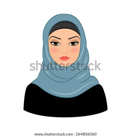 Arabic muslim woman on white background. Vector illustration - stock vector