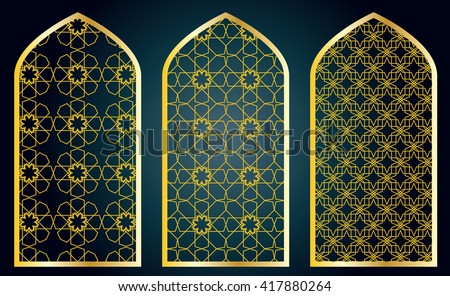 Arabic oriental islamic style geometric pattern windows. Graphic elements vector. - stock vector